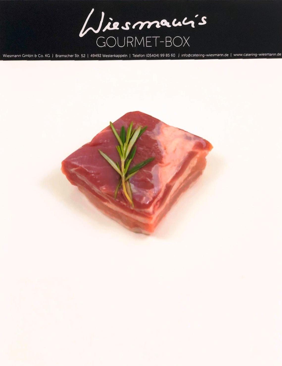 Bauch vom Havelländer Apfelschwein 54°C mit Honiglack