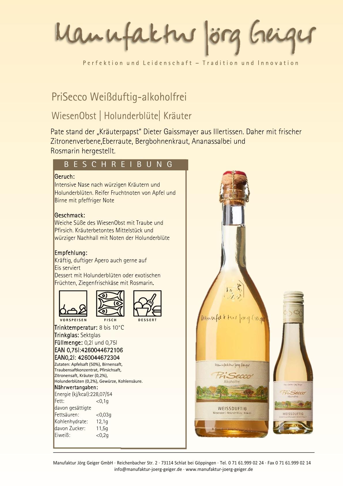 "PriSecco  ""weißduftig""  -alkoholfrei-  0,2 l"